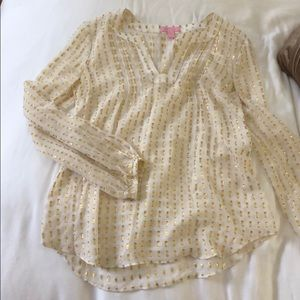 Tops - Lilly Pulitzer gold sheer top!
